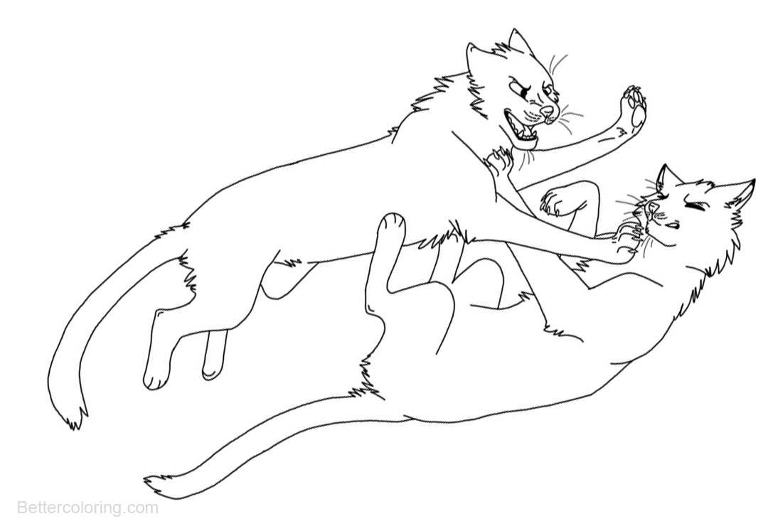 Free Warrior Cats Coloring Pages Two Cats Fighting printable