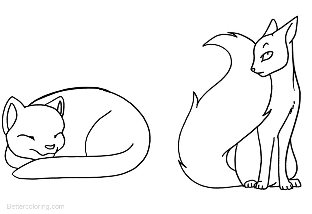 Warrior Cats Coloring Pages Two Simple Drawing Cats - Free Printable ...