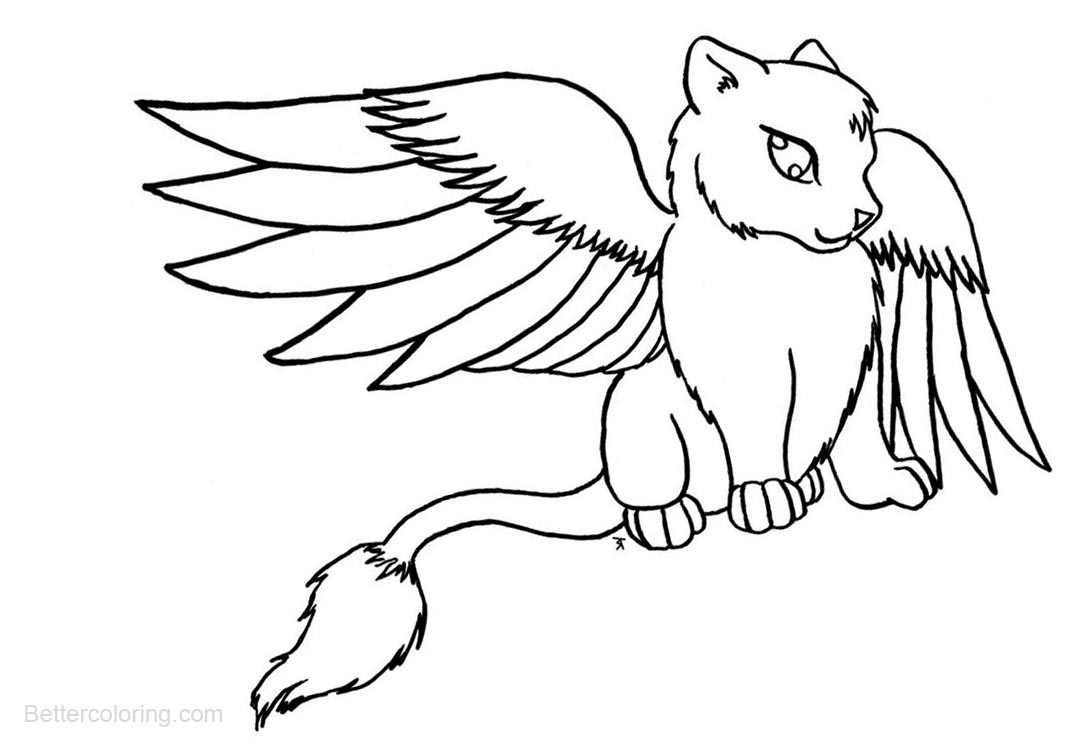 It's just a photo of Hilaire Cat With Wings Coloring Pages
