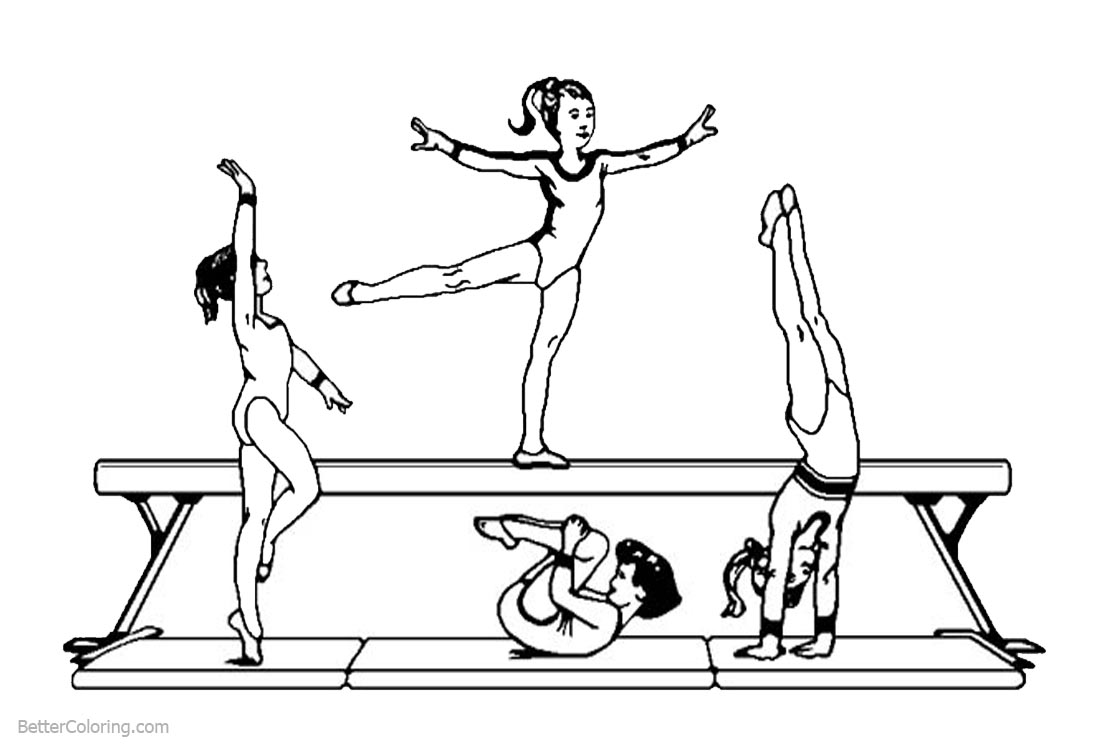 Woman Gymnastics Coloring Pages printable for free