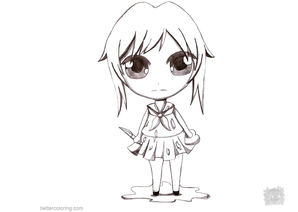 Free Yandere Simulator Coloring Pages Chibi Yandere Chan by Aprict printable