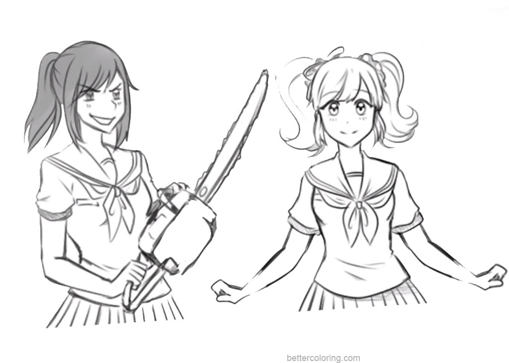 Free Yandere Simulator Coloring Pages Hand Drawing printable