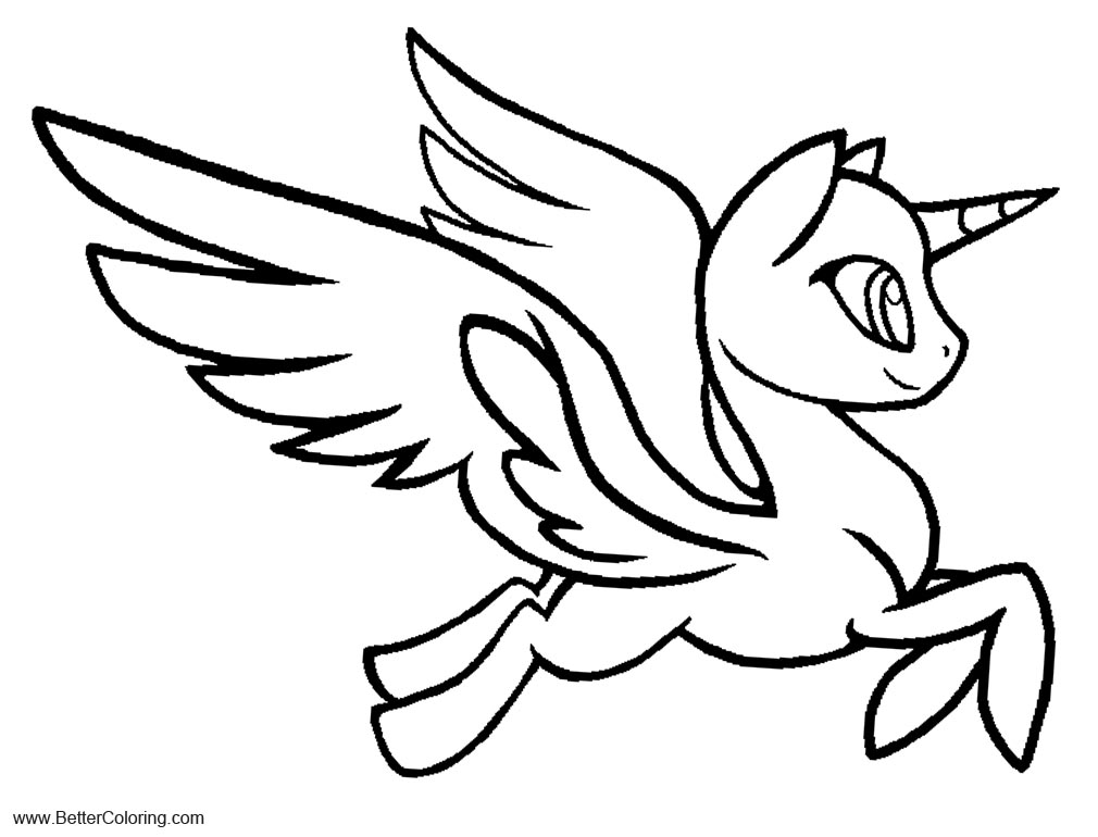 Free Alicorn Coloring Pages Line Art Base by Nemmikins printable