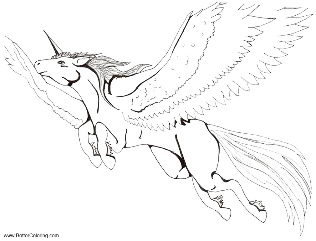 Alicorn Coloring Pages Line Art by Sada Chan Free