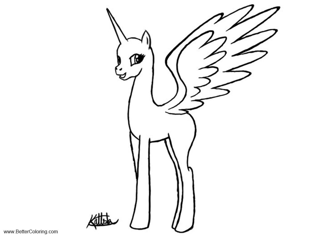 Alicorn Coloring Pages Line base by IfreakenLoveDrawing