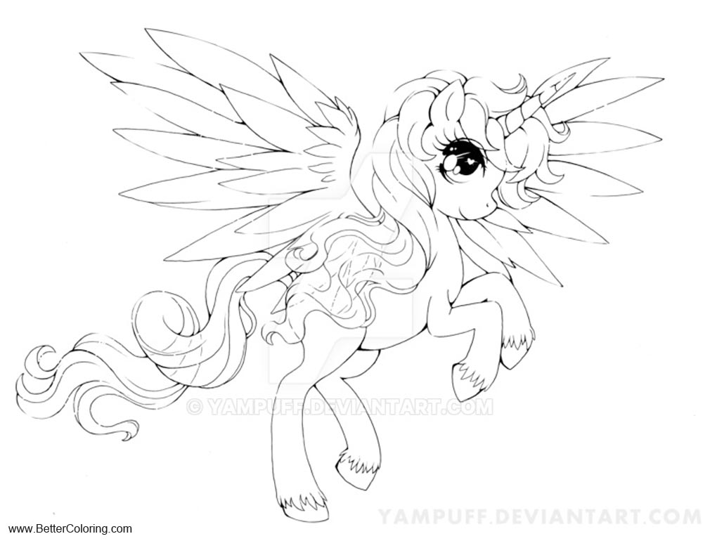 Free Alicorn Coloring Pages Lineart by YamP printable