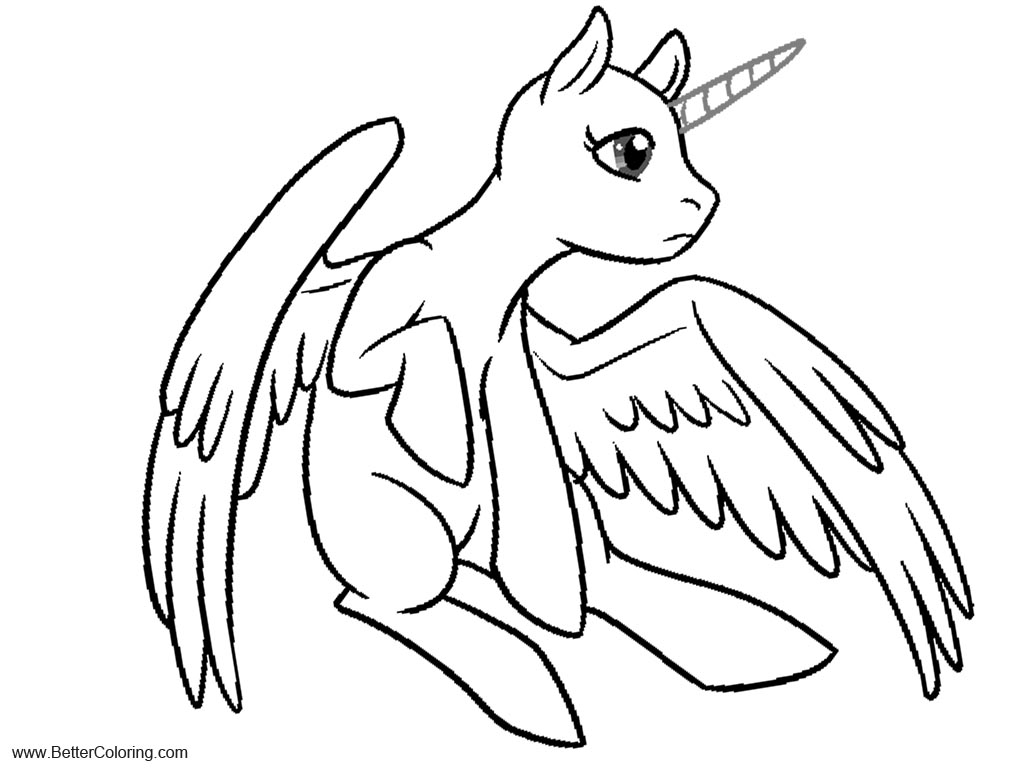 Alicorn Coloring Pages Pegasus by The Clockwork crow