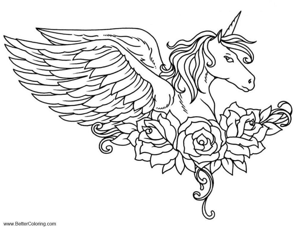 Alicorn Coloring Pages Pegasus with Flower Free