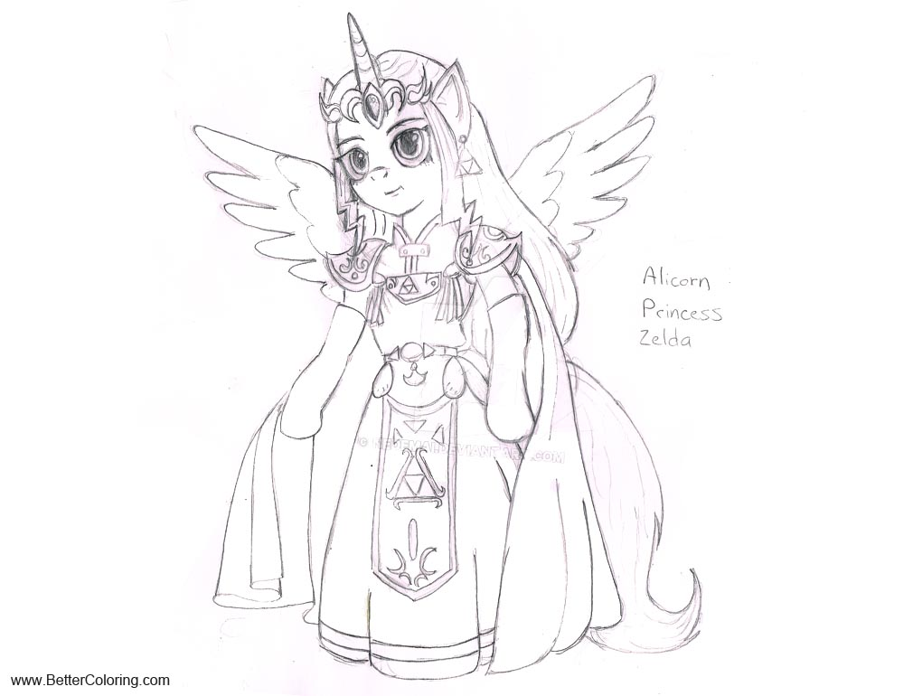 Alicorn Coloring Pages Princess Zelda By Nedemai