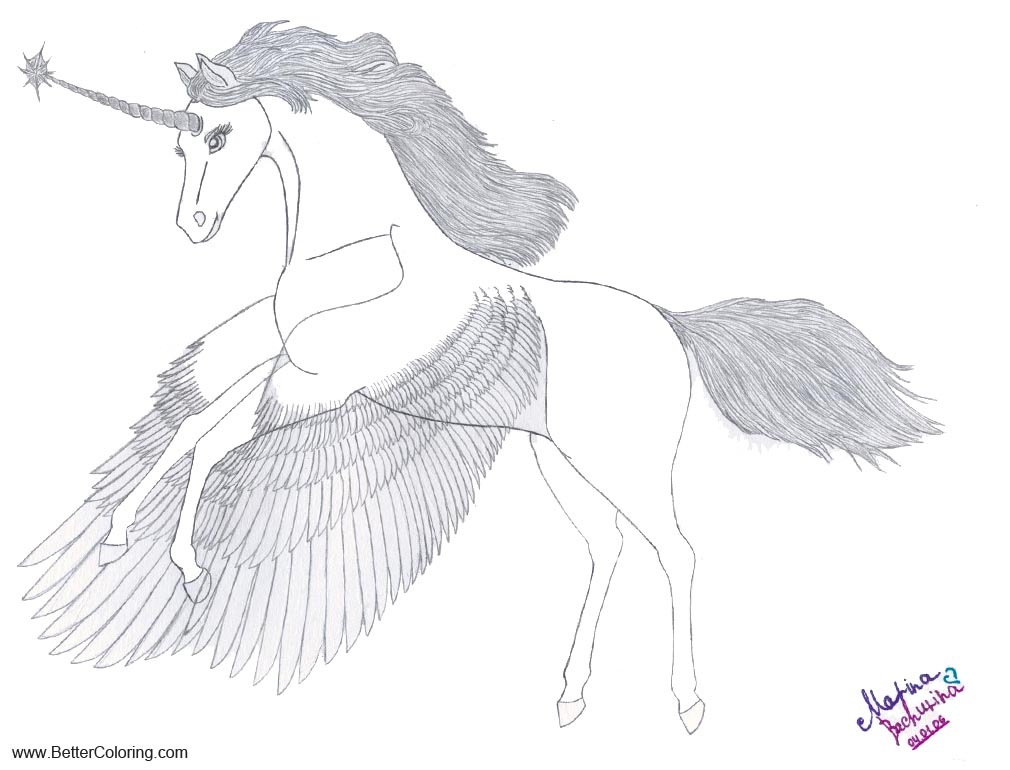 Free Alicorn Coloring Pages Winged Unicorn by Gryphonia printable
