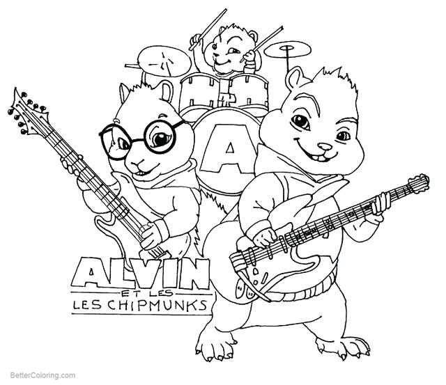 Free Alvin and the Chipmunks Coloring Pages The Band printable