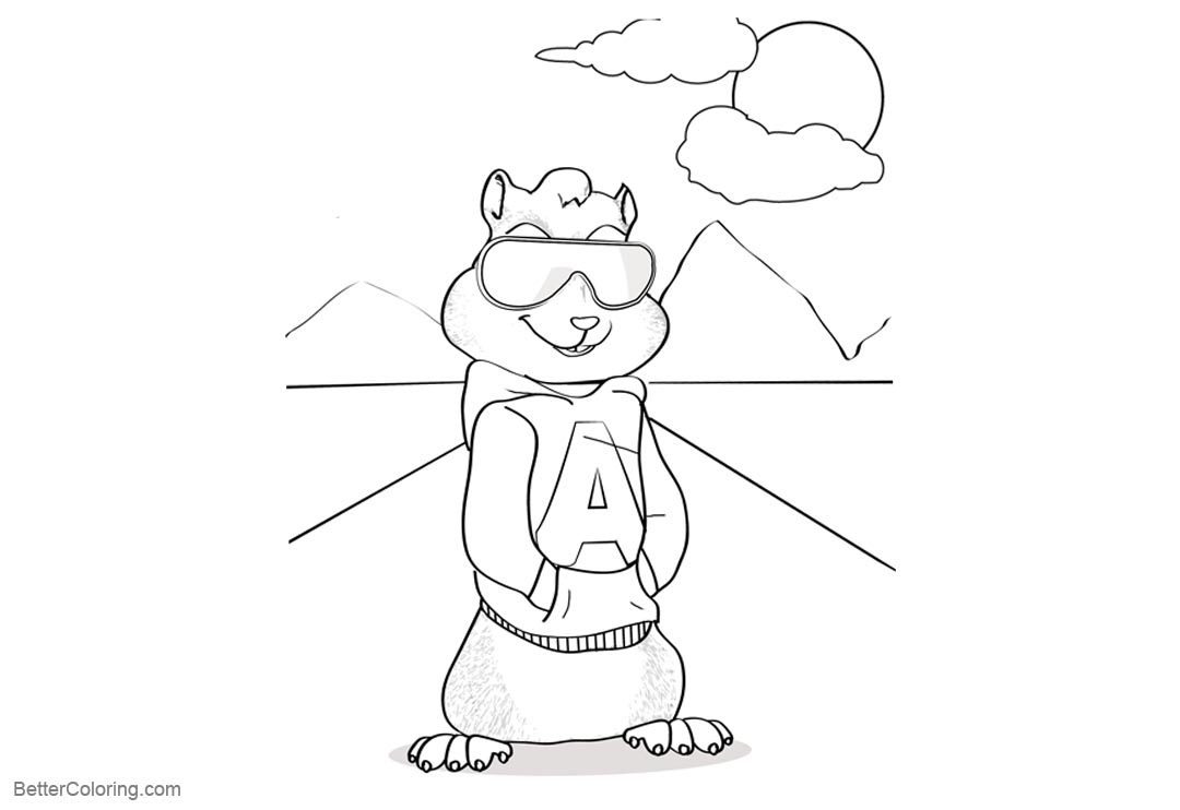 Free Alvin and the Chipmunks Coloring Pictures with Glass printable