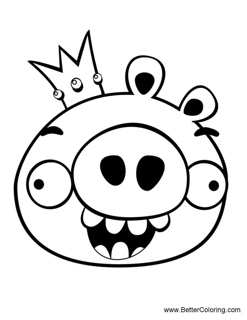 Angry Birds Coloring Pages King Pig - Free Printable Coloring Pages