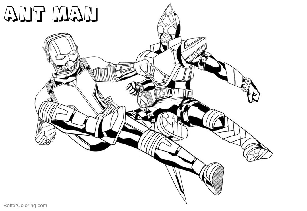 Free Ant Man Coloring Pages Kamen Rider and Ant Man by monkeygeek printable