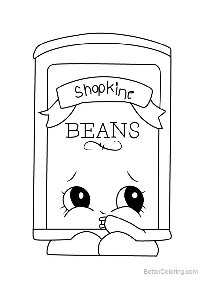 Bart Beans from Shopkins Coloring Pages - Free Printable Coloring Pages
