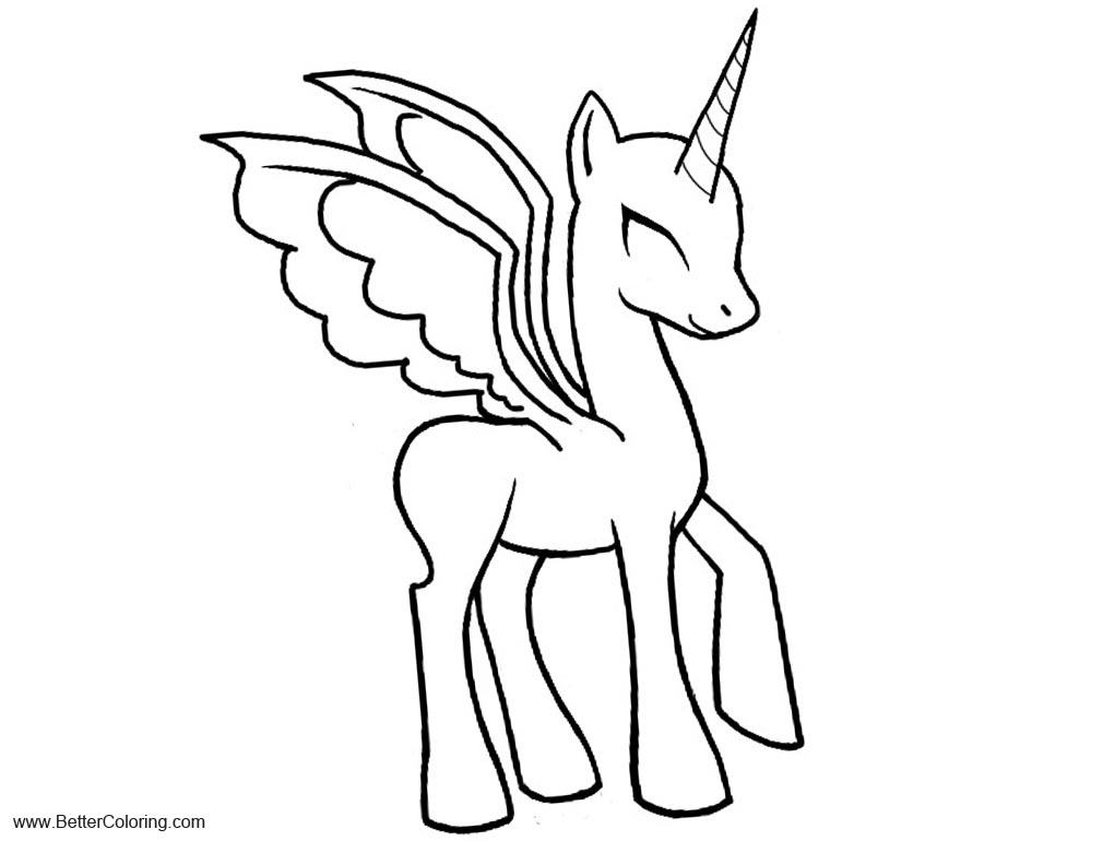 Free Bat Alicorn Coloring Pages Thingy Base by PuddingValkyrie printable