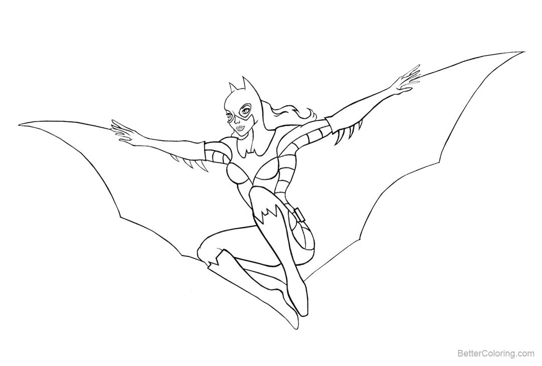 Free Batgirl Coloring Pages Hand Drawing by owlcitydreamer printable