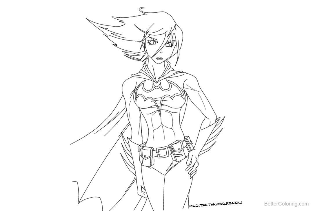 Free Batgirl Coloring Pages Lineart by lazaer printable