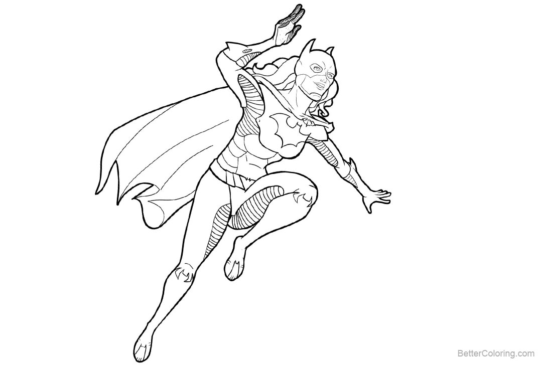 Free Batgirl Coloring Pages Lines Art by zclark printable