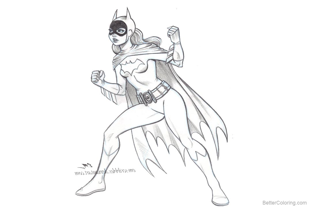 Free Batgirl Coloring Pages Sketch by em scribbles printable