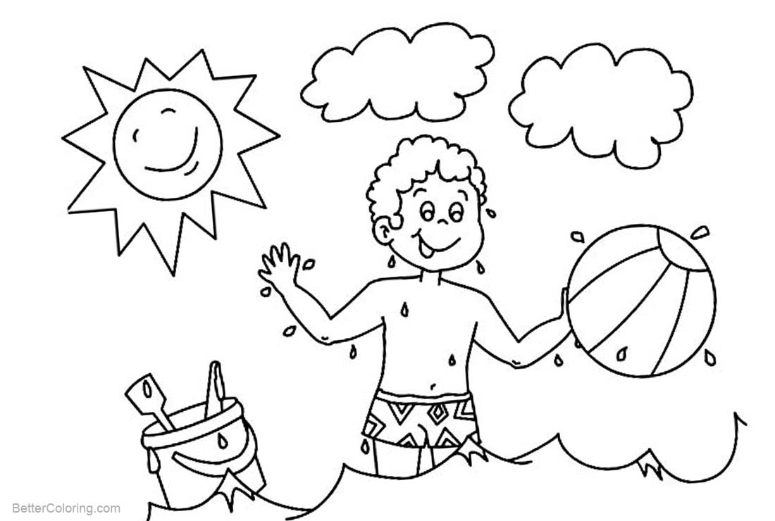 Free Beach Ball Coloring Pages A Boy Play Beach Ball printable