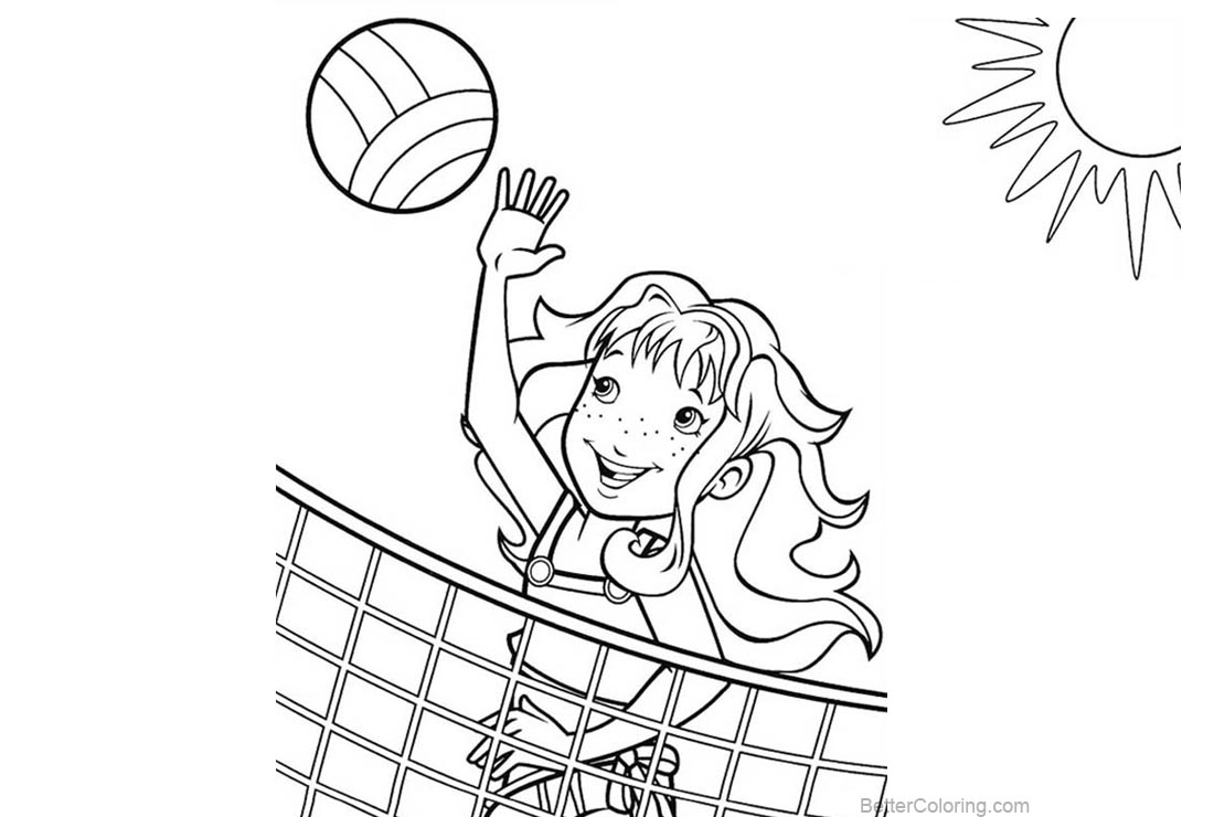 Free Beach Ball Coloring Pages A Girl Playing Volleyball printable