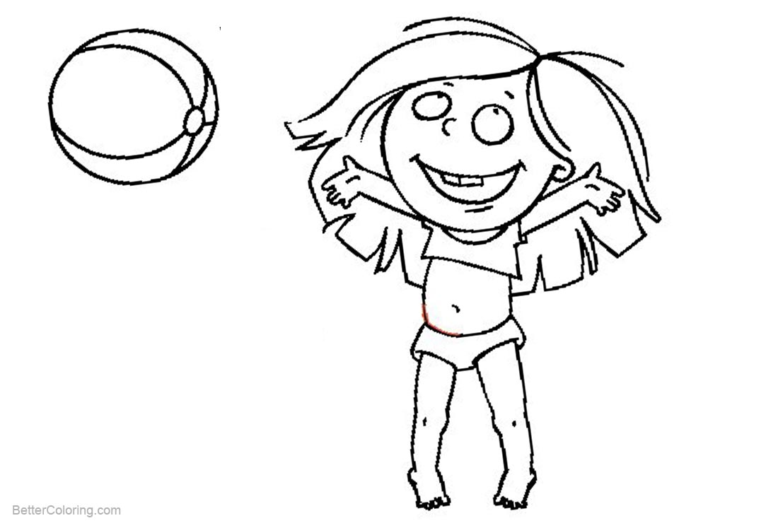 Free Beach Ball Coloring Pages Happy Girl printable
