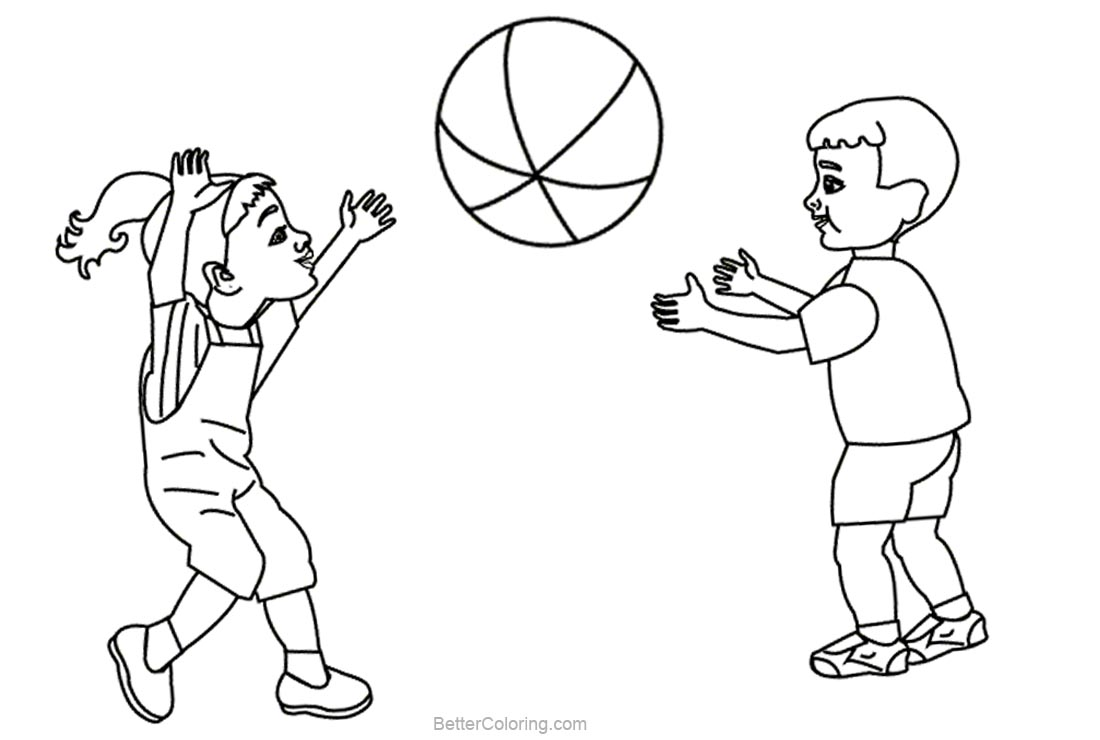Beach Ball Coloring Pages Kids Playing Ball - Free Printable ...