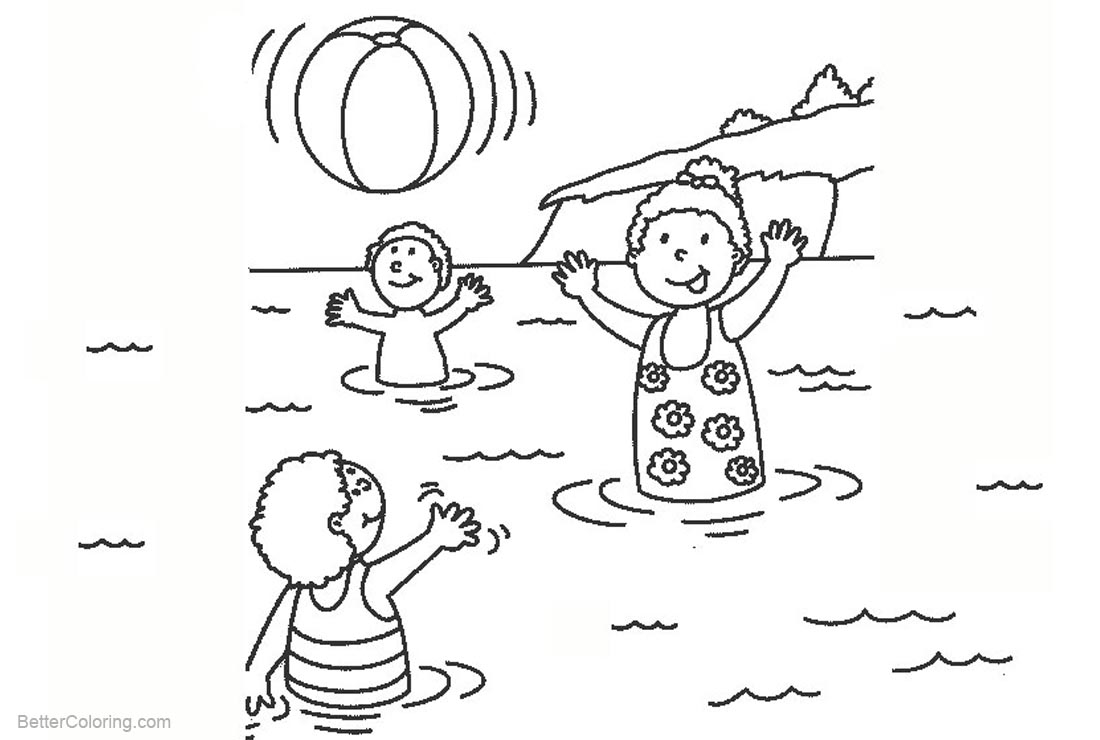 Beach Ball Coloring Pages Kids Playing in the Water - Free Printable ...