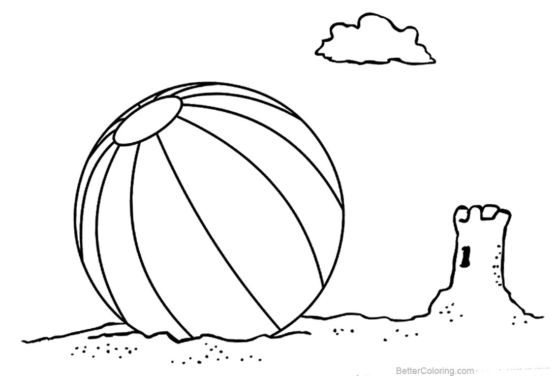 Free Beach Ball Coloring Pages Sketch printable