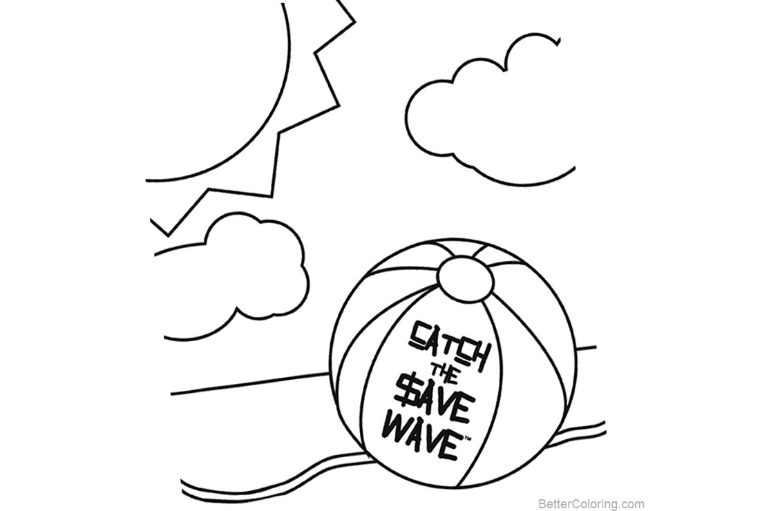 Free Beach Ball Coloring Pages Summer Line Drawing printable