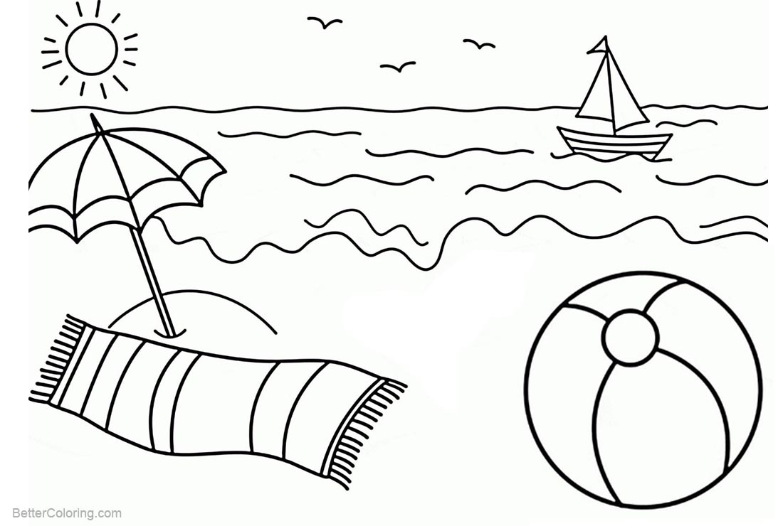 Beach Ball Coloring Pages Sun and Waves - Free Printable Coloring Pages