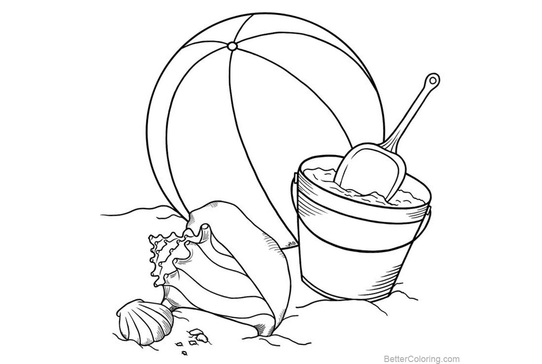 Free Beach Ball Coloring Pages with Seashell printable