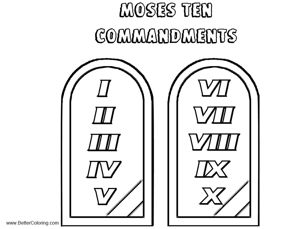 Free Bible Moses Ten Commandments Coloring Pages Printable For Kids And Adults