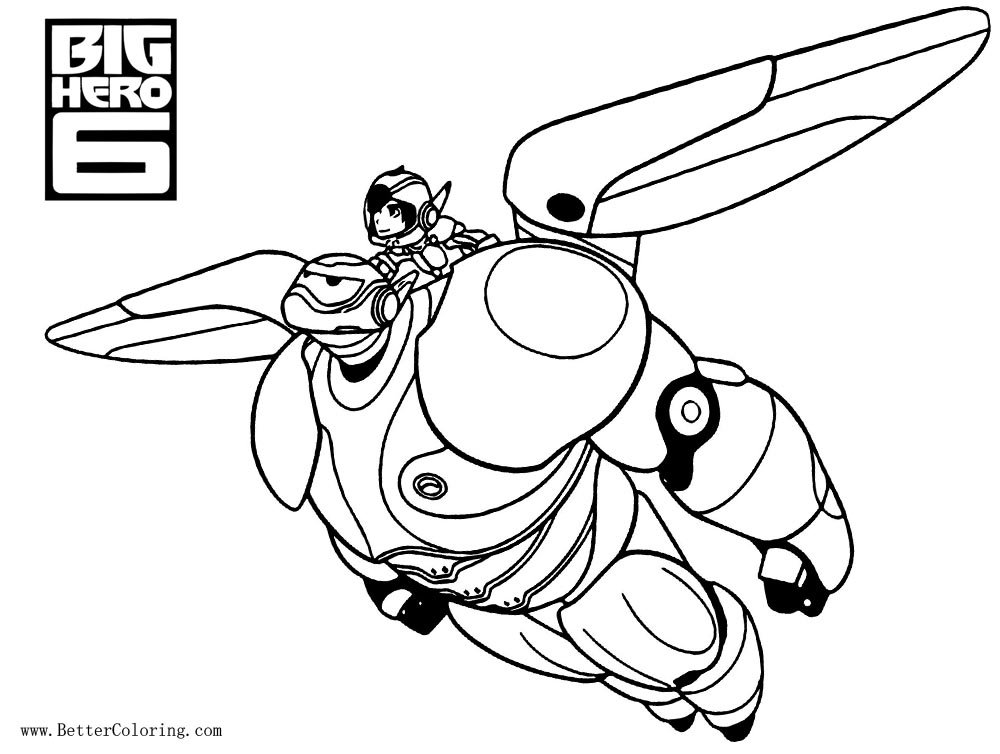 Free Big Hero 6 Coloring Pages Baymax Flying With Hiro Printable For Kids And Adults