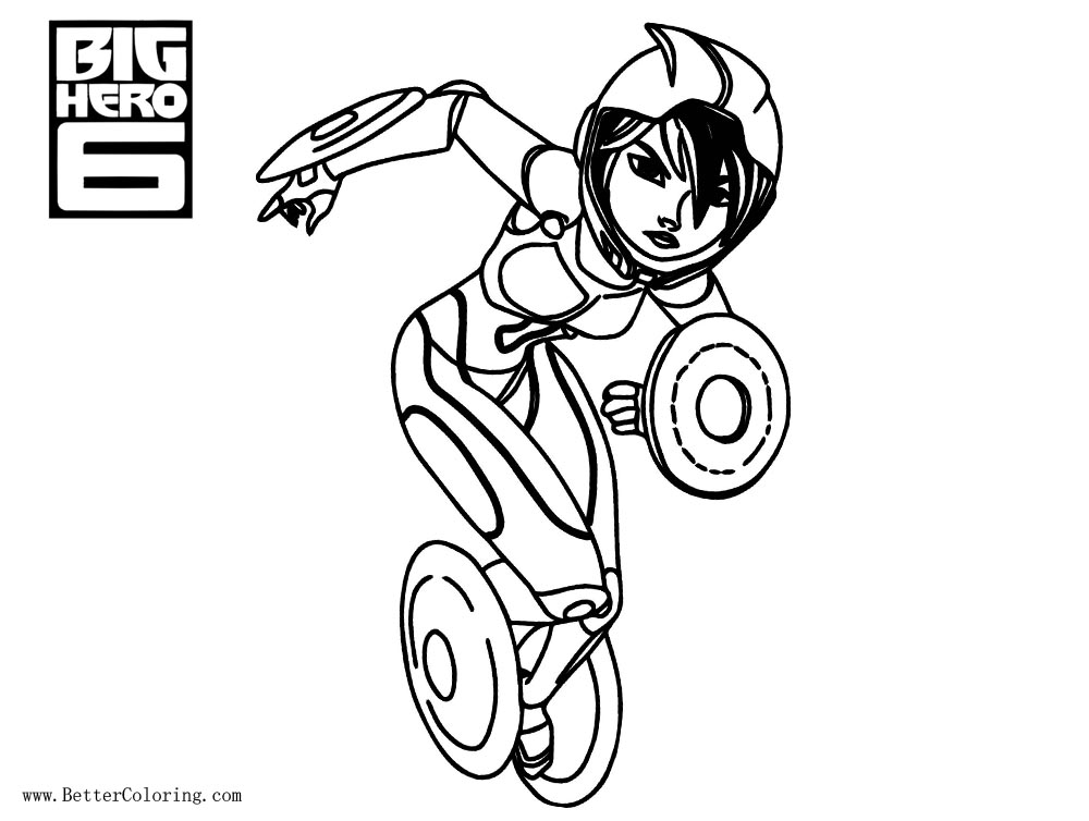 Free Big Hero 6 Coloring Pages Characters Gogo Tomago printable