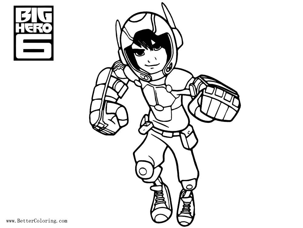 Free Big Hero 6 Coloring Pages Characters Hiro printable