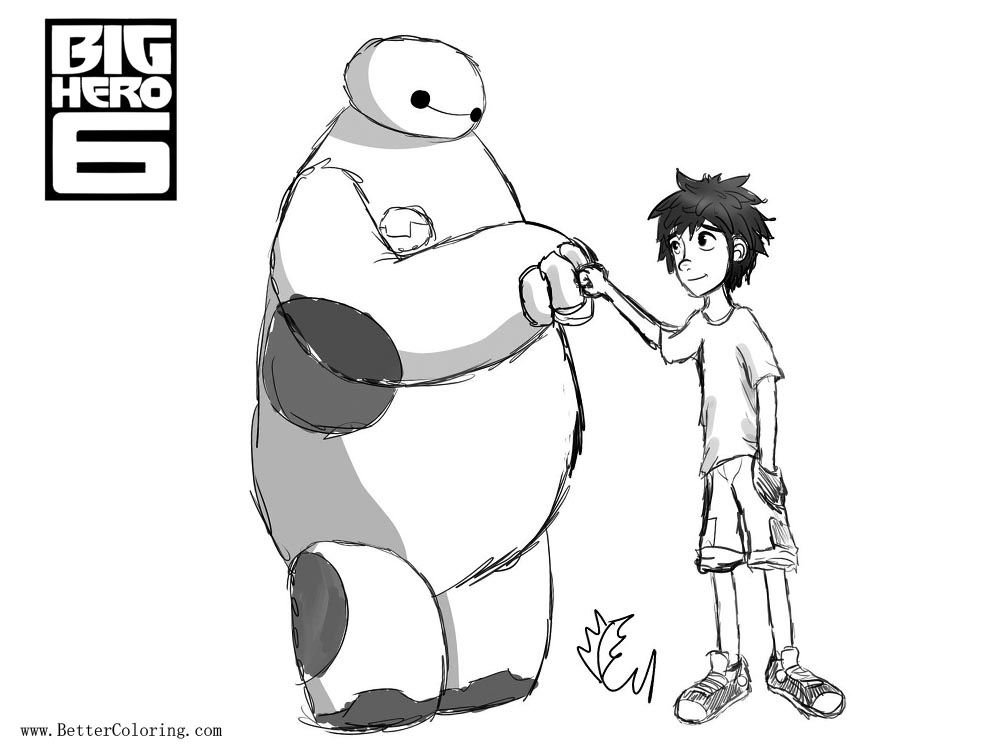 Free Big Hero 6 Coloring Pages Hiro and Baymax Fistbump by alphafuryofthenight printable