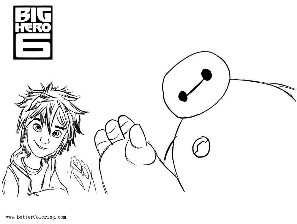 Free Big Hero 6 Coloring Pages Hiro and Baymax by KazukiArtStudios printable