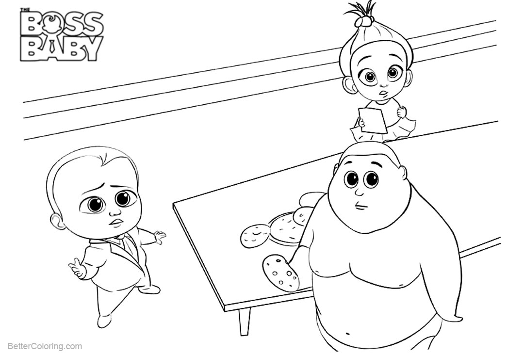 Free Boss Baby Coloring Pages Food on the Table printable