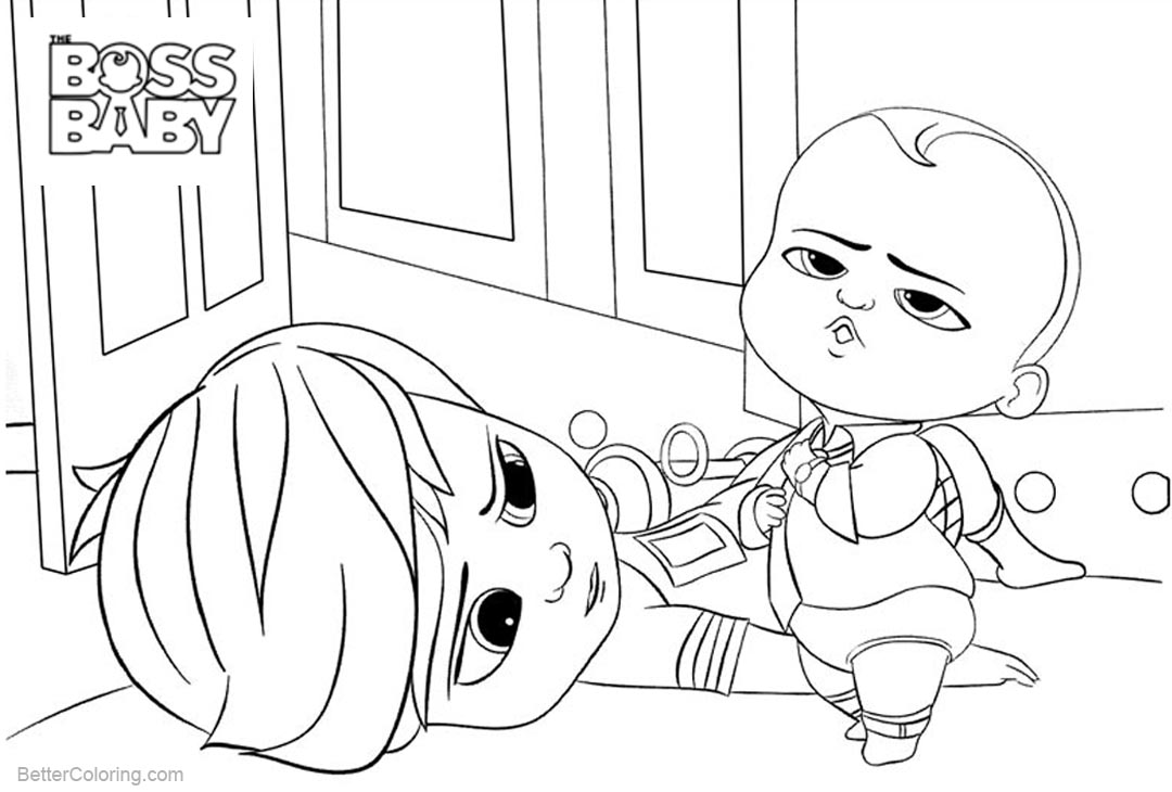 Free Boss Baby Coloring Pages Play with His Brother printable