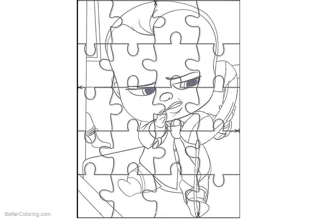 Free Boss Baby Coloring Pages Puzzle Template printable