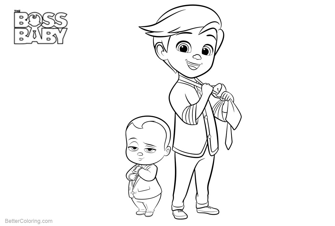 Free Boss Baby Coloring Pages Wearing Suit printable