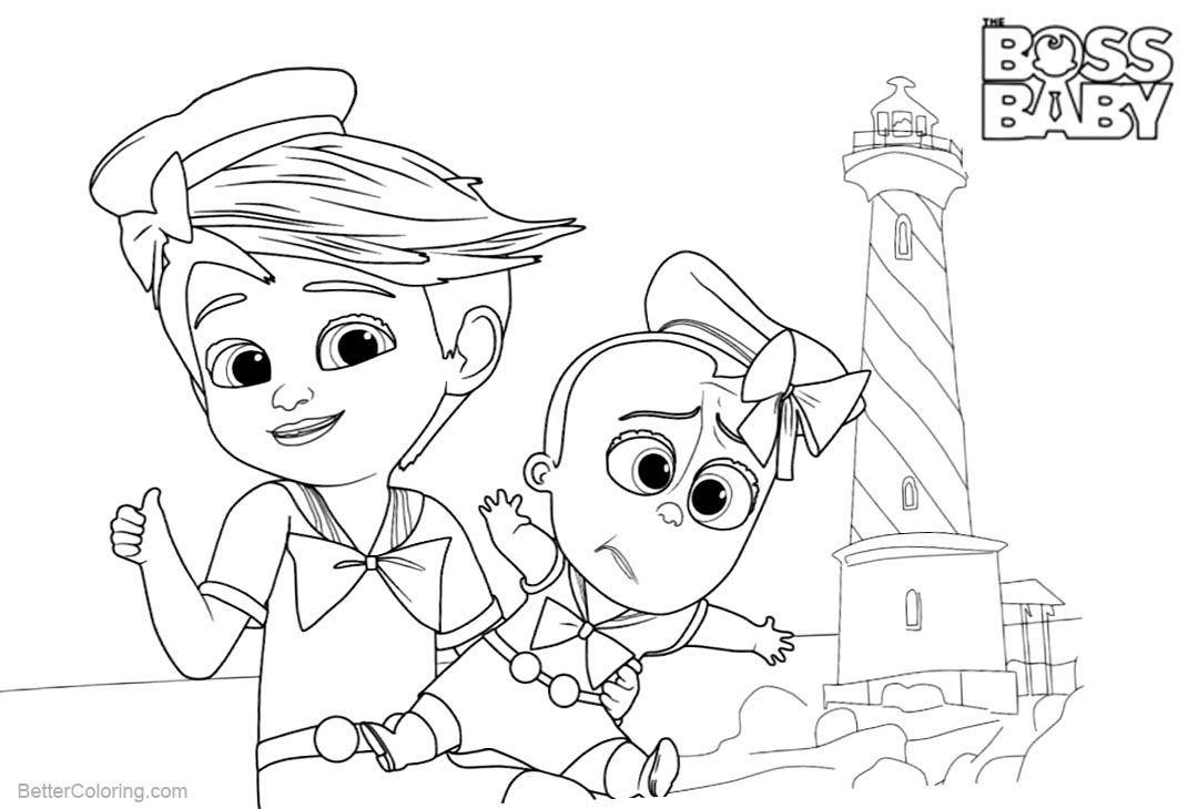 Free Boss Baby Coloring Pages in Hat printable