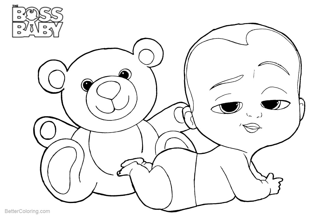 Free Boss Baby Coloring Pages with His Bear printable
