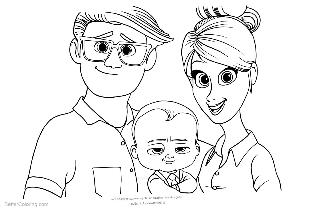 Free Boss Baby Coloring Pages with Parents printable