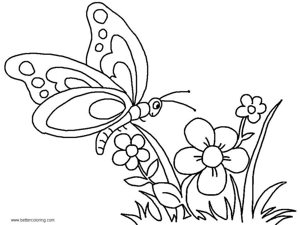 Butterfly Coloring Pages with Flowers