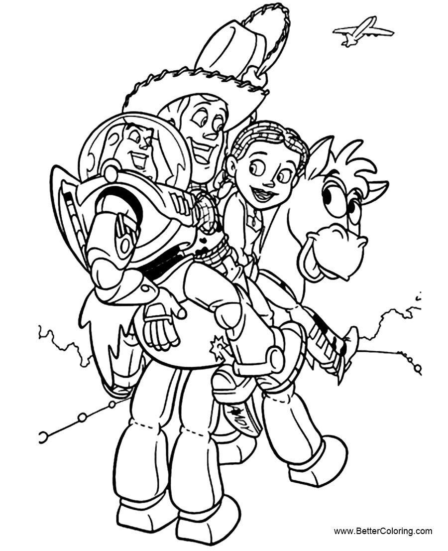 Free Buzz Lightyear Coloring Pages Riding Donkey printable