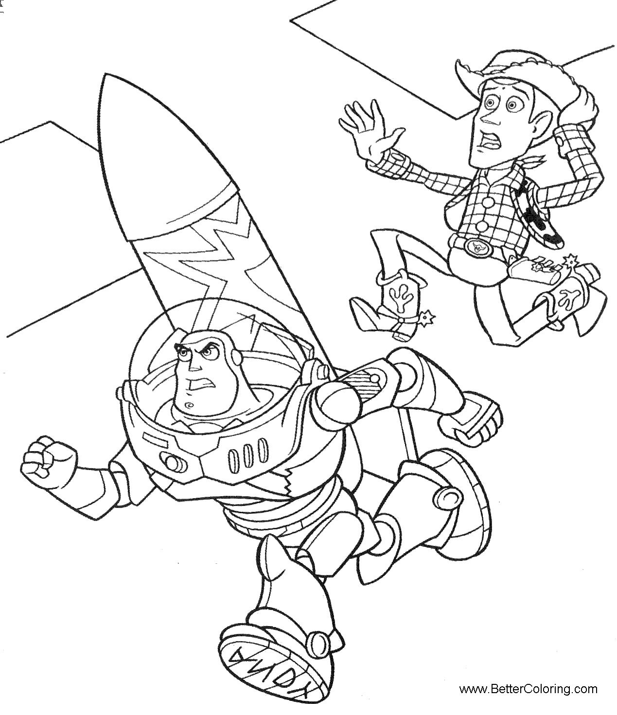 Buzz Lightyear Coloring Pages Running Free Printable Coloring Pages