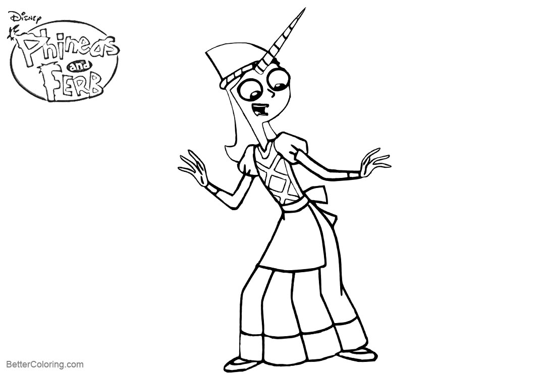 Free Candace Flynn from Phineas and Ferb Coloring Pages Unicorn Outline by Jaycasey printable